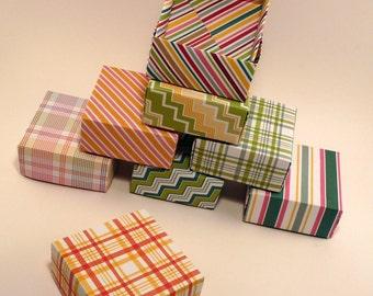 Set of 100 - Party Favor Box, Wedding Favor Box, Striped Box, Multicolored Box, Gift Box, Origami  Box, Bright Colorful Box