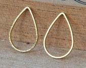 Brass Teardrop Links, Gold Finished, 16mm - 20 pcs - eBL009G-11x16