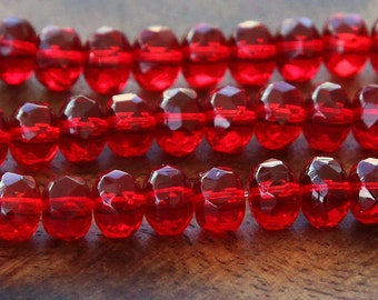 Czech Glass Rondelle Beads, Ruby Red, 7x5mm - 25 pcs - e9009-57