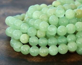 Flower Jade Beads, Celadon Green, 6mm Round - 15 inch Strand - eFJR-193-6