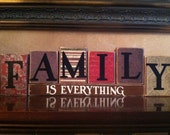 FAMILY IS EVERYTHING Wood Blocks / Wood Sign / Home Decor / Fireplace mantel or bookshelf decor