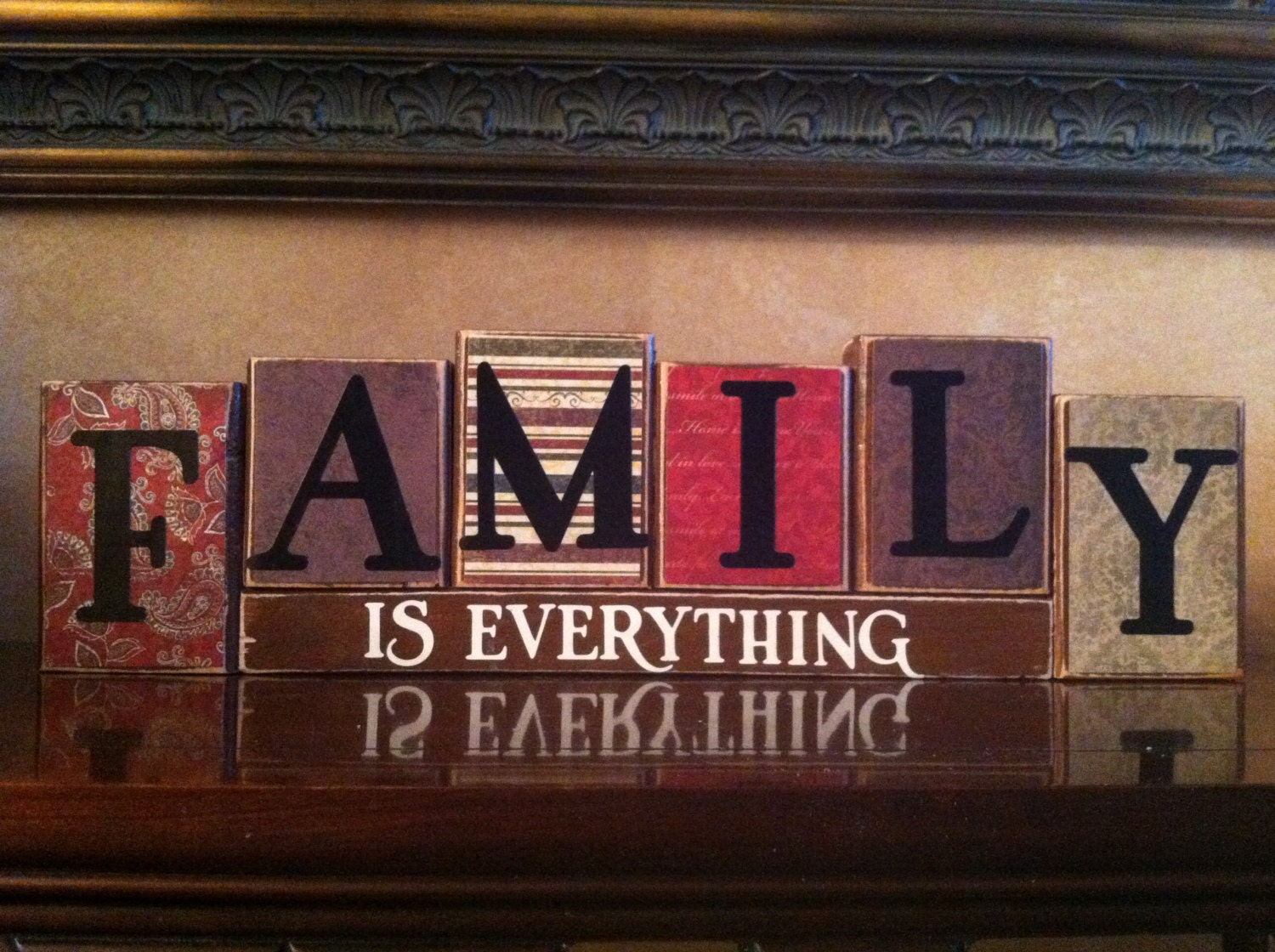 Family is everything wood blocks wood sign home decor home for Sign decoration