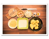 Food Photography 8x12, Kitchen Decor, Diner Recipe, Cooking Photo, Eggs, Potatoes, Cheese, Spices, brown