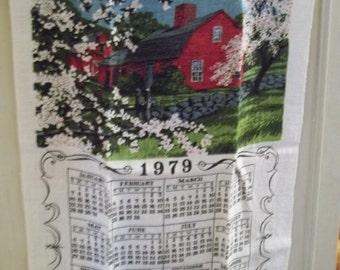 1979 vintage linen calender dishcloth  calender dishtowel by hermina's cottage