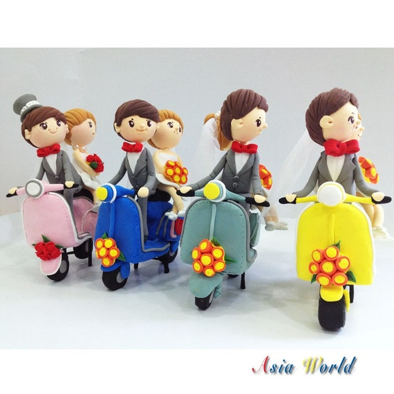 Wedding Cake topper clay, Vespa wedding clay doll, anniversary, engagement decoration