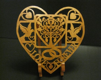 Scroll Saw Wedding/Anniversary Plaque Made From Cherry