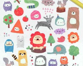 Korean Scrapbook Die-cut Stickers, Sketchbook animal (STNO05021)