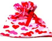 Valentine Hearts drawstring bag-project bag-gift bag