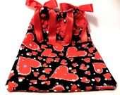 Loves Heart Valentine drawstring bag-Jewelry pouch-cosmetic pouch-project bag-gift bag