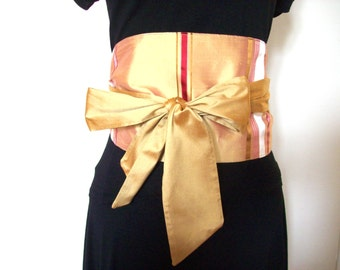 large belt obi in beige silk and japanese cotton fabric