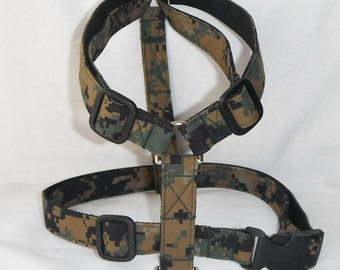 Military Adjustable Dog Harness - Availlable In Army, Air Force And Marines - Size XS, S, M, L, XL