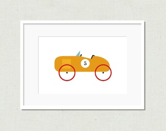 Modern toy car prints, vintage car, nursery decor, yellow car, kids decor, modern nursery art, children's art print, colorful nursery art