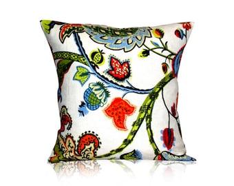 Pillow Cover throw pillow sofa pillow decorative pillow Wilmington Multicolor Jacobean Designer Pillow Cover  18x18 inches