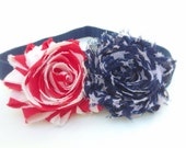Fourth of July headband. Newborn prop, baby flower headband, clip, pin. Spring, Summer, patriotic