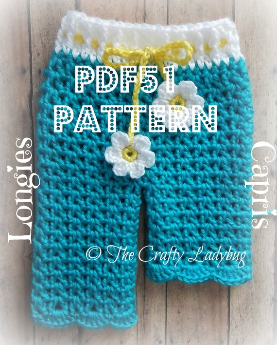 Free Crochet Patterns For Baby Pants : Baby daisy pants spring longies or capris crochet pattern