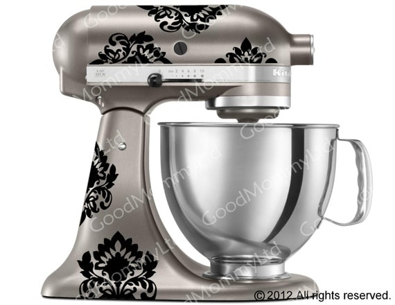 Kitchen Mixer Decals ~ Kitchenaid mixer damask decals vinyl sticker for stand up