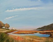 Scottish landscape painting, 'Lochranza Summer's Day, Isle of Arran'. Limited edition fine art print