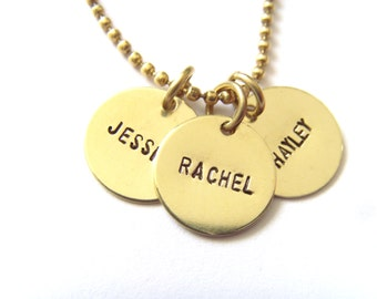 Handstamped Jewelry, Personalized Name Necklace, Mommy Necklace, Custom, Brass, 3 Discs, Hand Stamped
