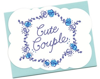 Cute Couple Letterpress Wedding Congratulations Card • LP730