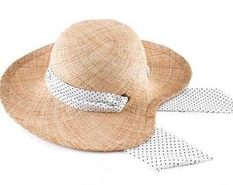 Straw Sat With Ribbon, Women Straw Hat , Wings W.B