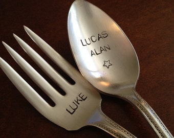 Vintage Childs Fork and Spoon Set     Personalized