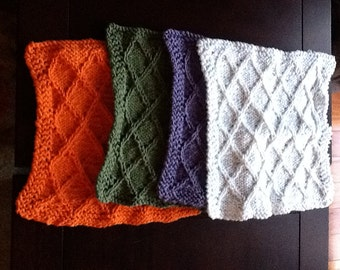 Celtic diagonal pattern Dishcloth.  May be made to order