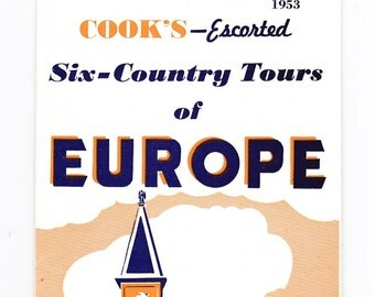 Cooks Travel Brochure - 1953 European Tour Booklet - 2 Color - Orange, Navy