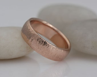 Red gold wedding band, size 4 1/4 or custom sizes, 14k gold, hammered surface, #412.