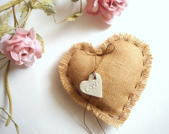 Rustic Ring Bearer Pillow,Vintage Shabby Chic Ring Pillow,Heart Wedding Pillow,Burlap Ring Bearer