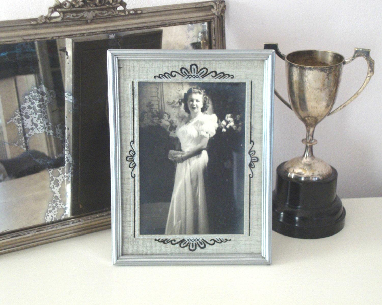 Vintage Art Deco Picture Frame Silver Black Gray Tin
