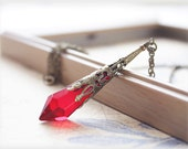 Red glass necklace, prism pendulum crystal long antiqued brass gothic victorian style necklace