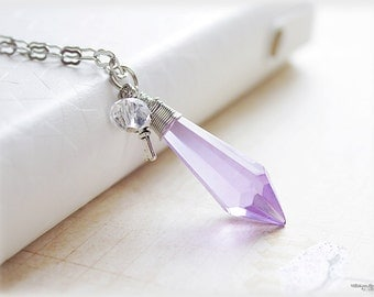 Lilac crystal glass prism pendulum purple lavender drop necklace with silver key charm
