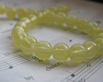 Yellow Glass Beads- 8mm round- set of 25