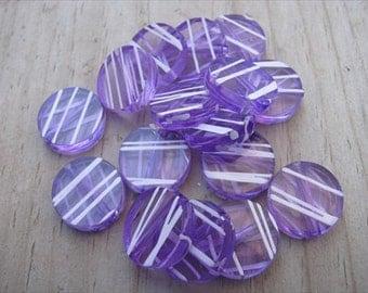 Purple Striped Transparent Acrylic Beads- Set of 40