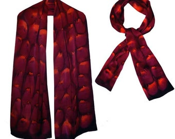 Hand-painted Charmuese 100% Satin Silk Scarf