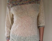 Light Simple Sweater Ivory with Delicate Multicolor Insertion