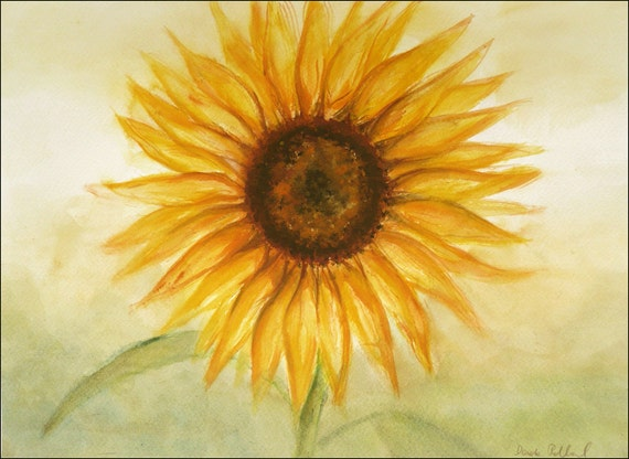 Sunflower Original Painting, Aquarelle - Let the Sun Shine at your Home -  Watercolor Art, Yellow Flower Watercolor Painting 10 x 14 inches