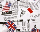 Newspaper Fabric, Canvas Cotton Fabric With the Union Jack English Letters, British Style - A half yard