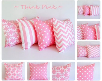 Pink pillow cover One cushion cover baby pink and white throw pillow cover