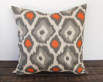 Ikat Pillow cover one orange gray and BEIGE cushion cover decorative throw pillow covers Adrian modern pillow
