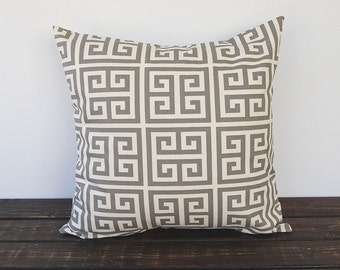Gray Greek Key decorative throw pillow cover One cushion cover gray and natural cushion cover pillow sham