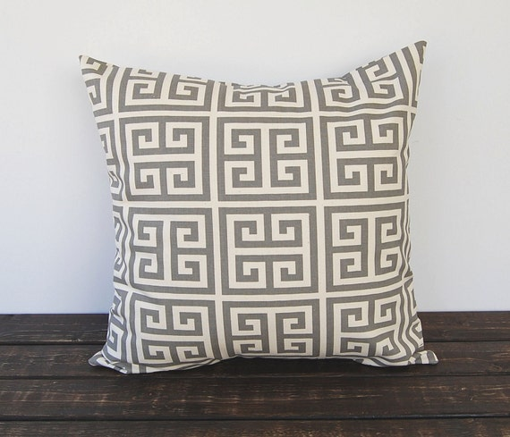 Key Decorative Pillow : Items similar to Gray Greek Key decorative throw pillow cover One cushion cover gray and natural ...
