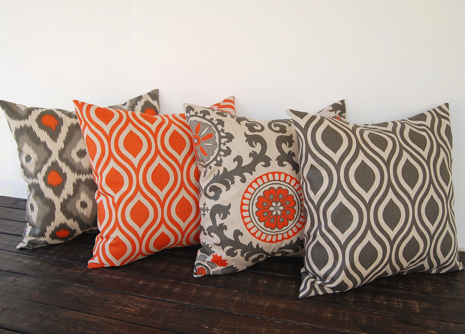 Throw Pillow Covers 18 X 18 Set Of Four Orange By