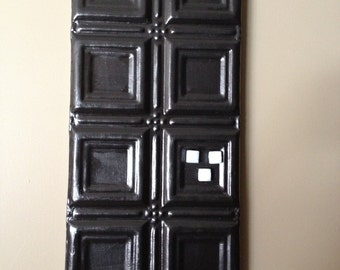 Distressed black memory/picture board tin ceiling