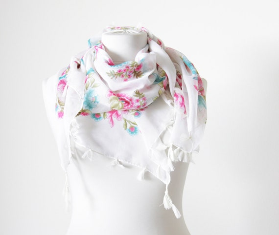 Ivory Women Scarves in turquoise, green, pink and white background - Cotton Scarf with fringes, NEW, Neckwarmer, Floral Fashion scarf, Belt