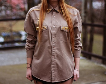 Studded Spiked Shirt Spikes Khaki  Military Top Hipster Look Rock Style