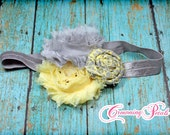 Pale Yellow, Grey Hair Bow, Hair Accessories, Fabric Flowers Headband, Hair Bow, Gray Flower Hair Clip, Baby Girl Headband, Brooch