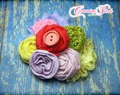 Lavender, Yellow, Lime, Pink, M2M Matilda Jane Good Hart, Hair Bow, Red, Purple Headband, Lavendar, Fabric Flower Hair Accessories