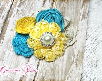 Yellow, Turquoise, Capri Blue, Headband, Aqua Fabric Flower Hair Bow, Pagaent, Headband, Baby Hair Bow, Fabric Flowers, Brooch, Hair Piece