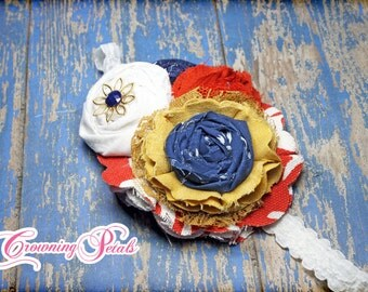 Red Orange, Mustard, Navy Headband, Baby Hair Bow, Hair Accessory, Hair Clip, Hair Piece, Girls Hair Bows, Fabric Flower Brooch